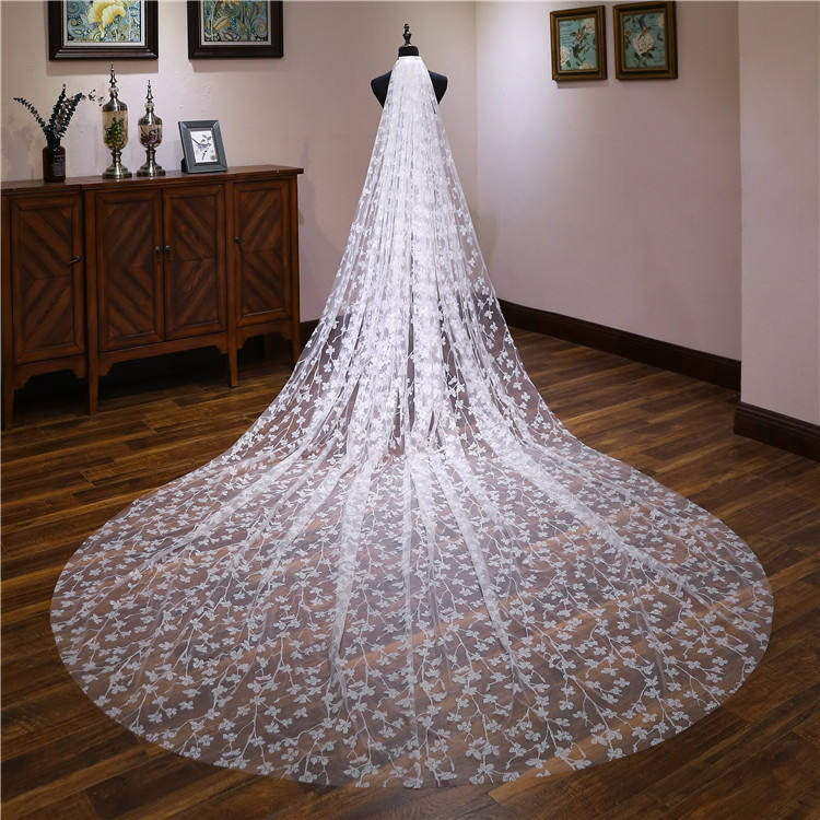 2019 new design tulle long veils wedding cathedral long lace veil 3.8m length classical lace veils