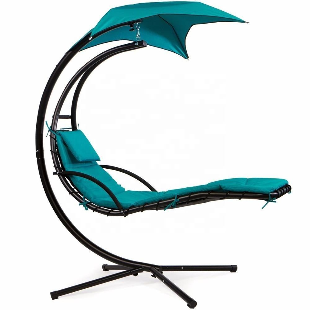 Sedia pensile sospesa per esterni con chaise longue, sedia pensile altalena con baldacchino