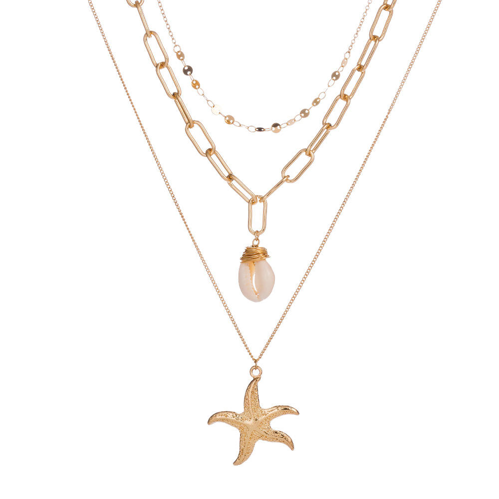 Fashion Beach Shell Multilayer Necklace Metal Starfish Pendant Jewelry