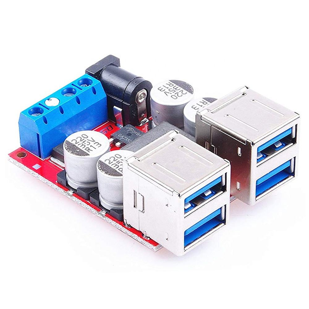 DC-DC Pengisian Kendaraan Papan 12 V 24 V (8-35 V) untuk 5 V 8A Step Down Power Supply Modul 4 Port USB Output Charger Mobil