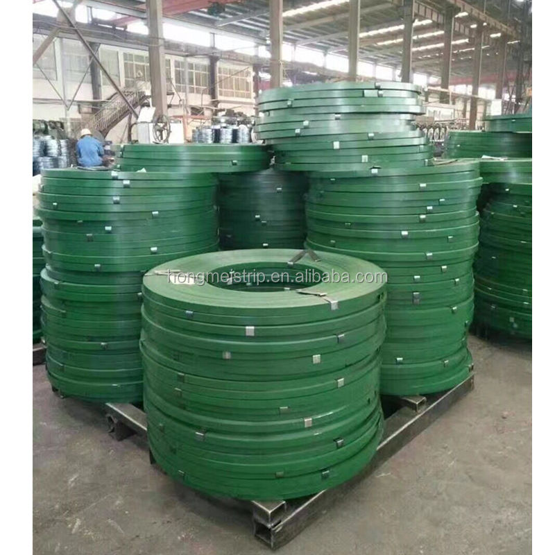 Green painted Steel Packing Strapping