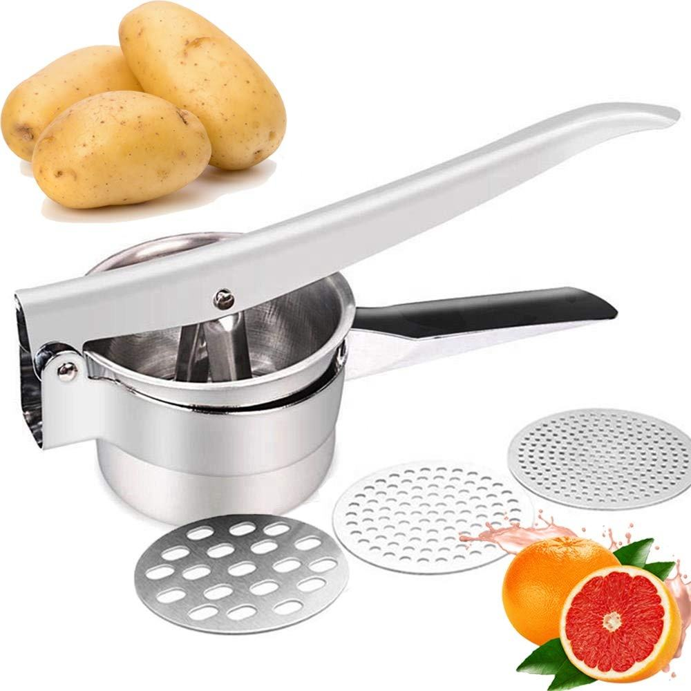 Amazon Dapur Alat Dapur Gadget Helikopter Sayuran Buah Crusher Penghancur Kentang Manual Stainless Steel Pelumat Kentang