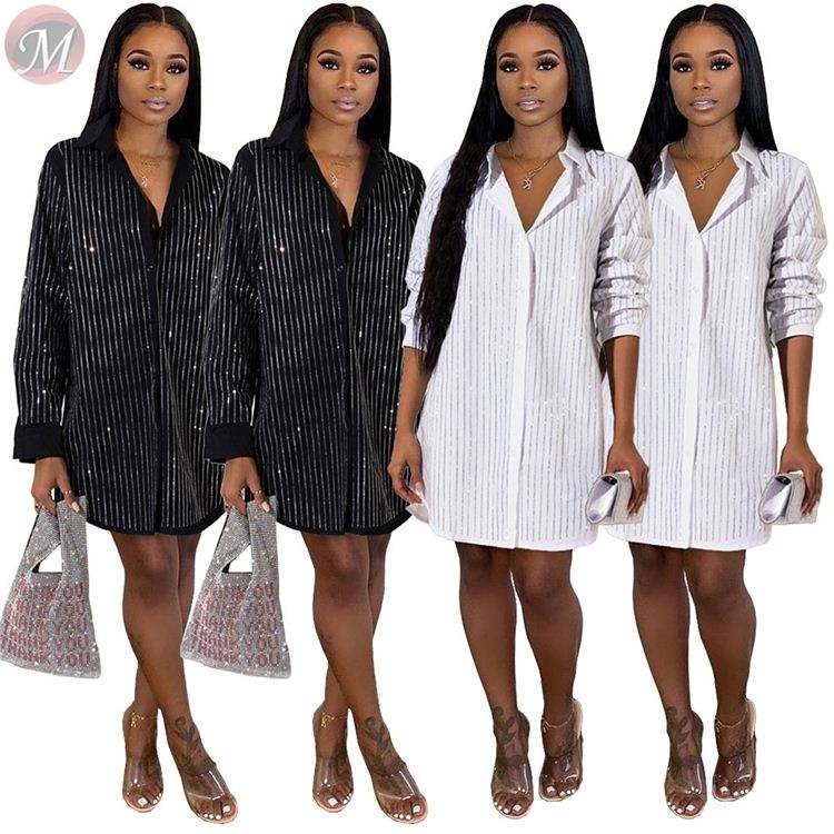 9120502 casual white and black rhinestone stripe shirt dresses High Womens Fashion Clothing