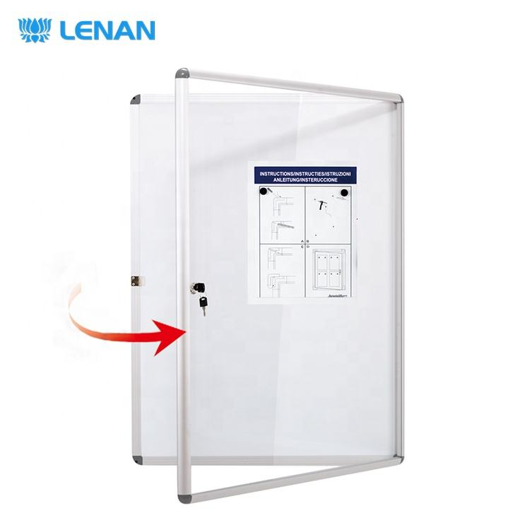Acrylic door wall mounted enclosed message board magnetic white bulletin board lockable notice board