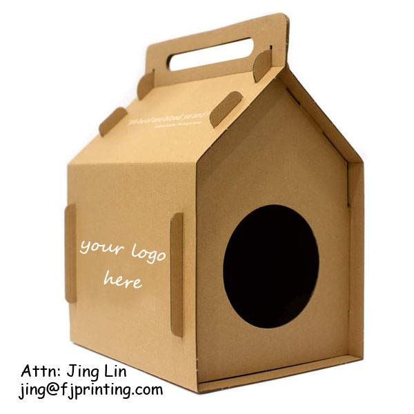 Custom printing eco friendly corrugated cardboard cat and kitten cave apartment pet house barn box