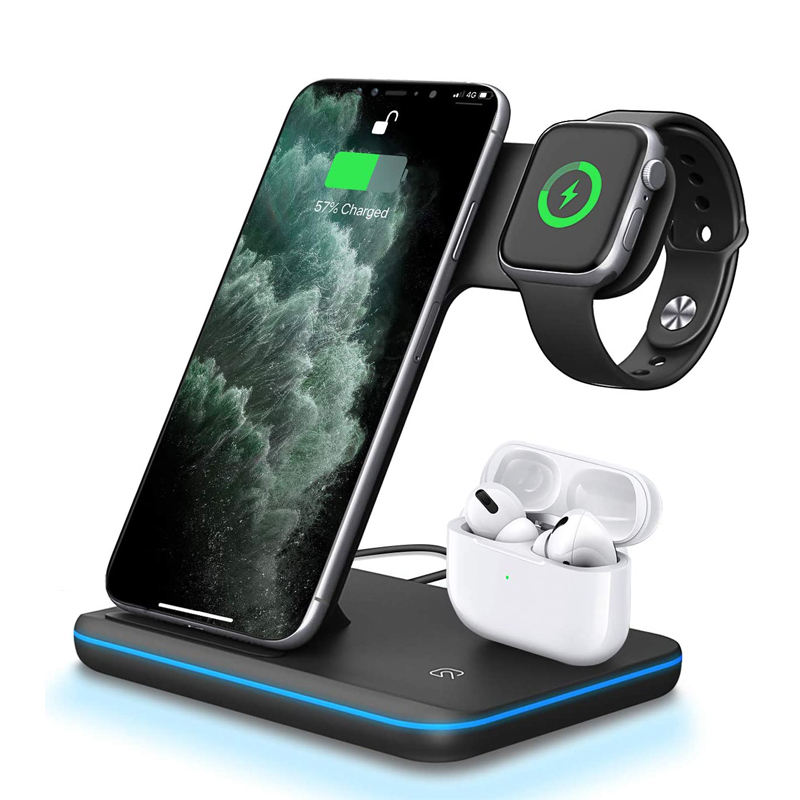 15W Fast Wireless Charger Qi-certified 3 in 1 Wireless Charging Stand Upgraded Multi-functional Power Station