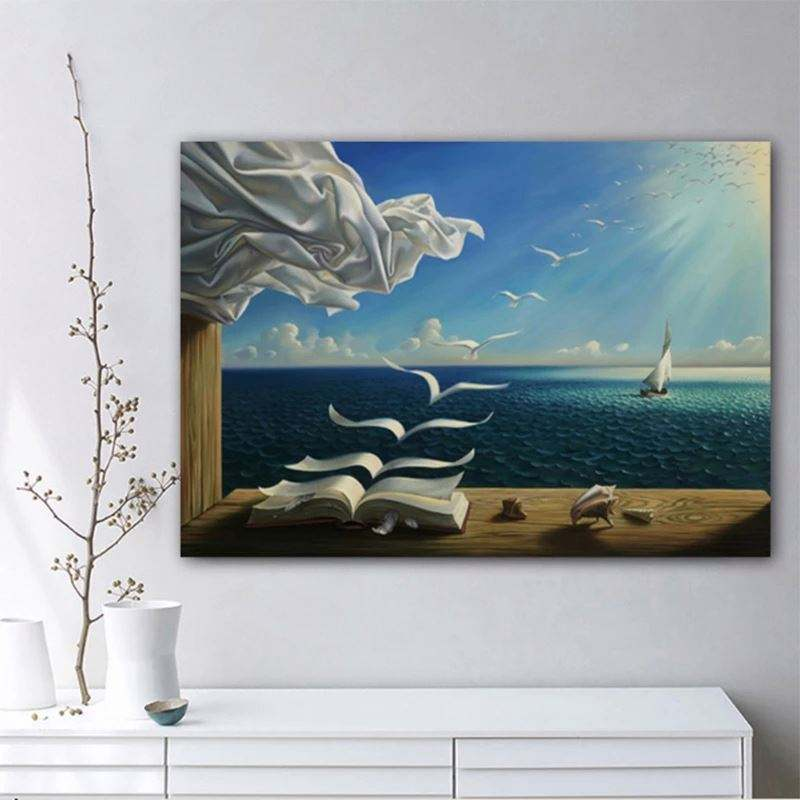 Frameless Salvador Dali Canvas Art Print Poster Wave Book Sailing Boat Picture Posters And Prints Decoration