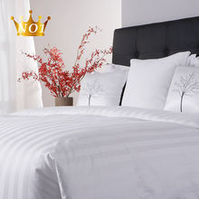 Free Sample Luxury Designs Satin Stripe 100 Egyptian Cotton Single Bedding Linen Sheet Set White Bed Sheets Hotel