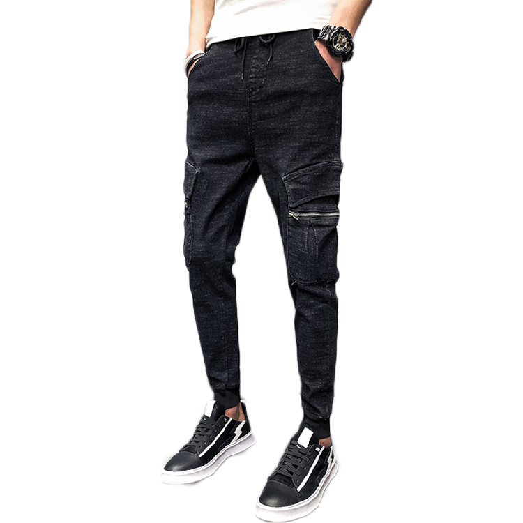 Cozy men black trousers jeans straight denim cotton blend jeans men black spring /summer/ autumn/ trousers for men