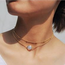 Simple round bead gemstone necklace women double layer gold choker necklace