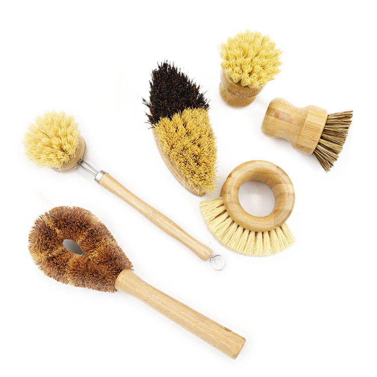 Factory Price Custom Private Logo Natural Dish Bowls fruit Wood Household Cleaning Tools Set Bamboo Kitchen Cleaning Brush