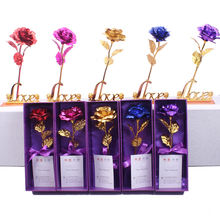 Mother'S Day Gift Set Flower Creative Single Gold-Plated Rose 24K Gold Foil Rose Valentine Gift Box Set