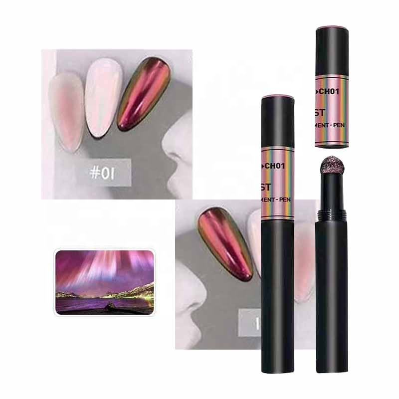 New Aurora powder air cushion magic pen chrome nail powder rainbow pigment dust shining glitter