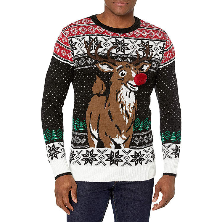 Latest style custom fancy knitted ugly pullover sweater christmas