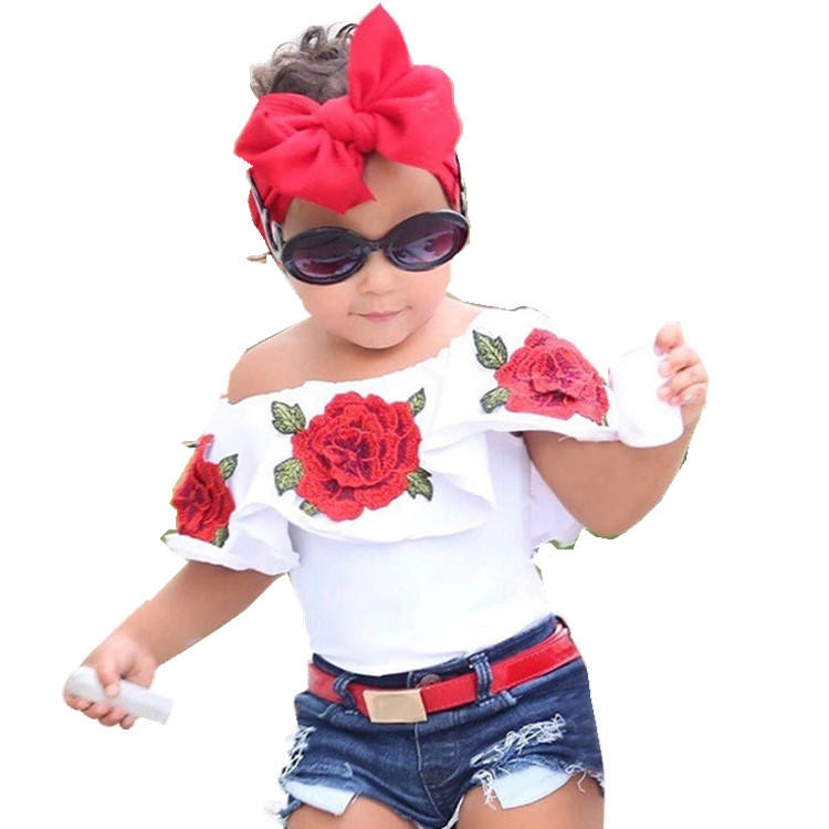 Best Selling China Online Children Clothes Bulk Wholesale Kids Clothing Rose Flowers Printing Sets For Girl