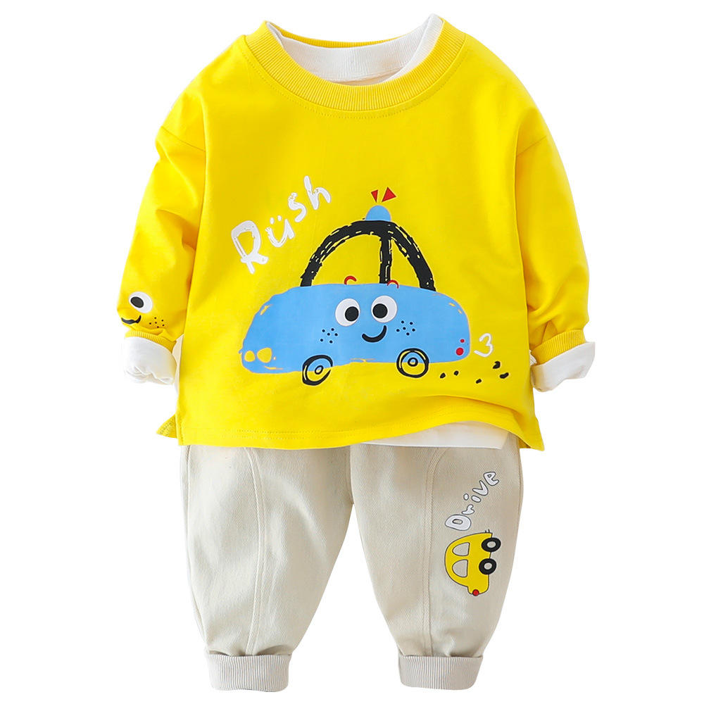 Amazon Hot Deals cute car pattern Sweatshirt and pants children little boys clothing set
