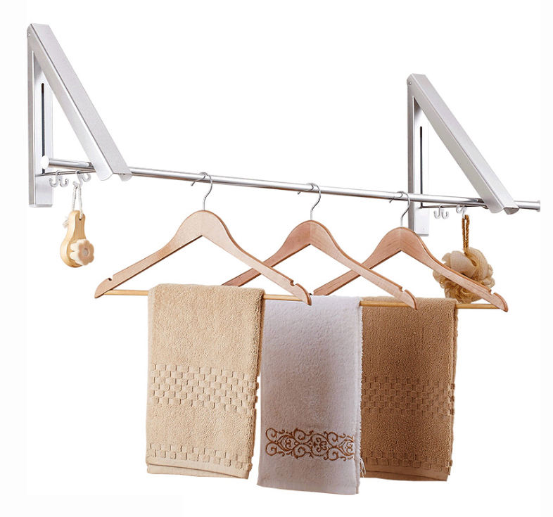 Triangle retractable folding wall mounted clothes hanger rack heavy duty hanging clothes laundry display rack clothes rack