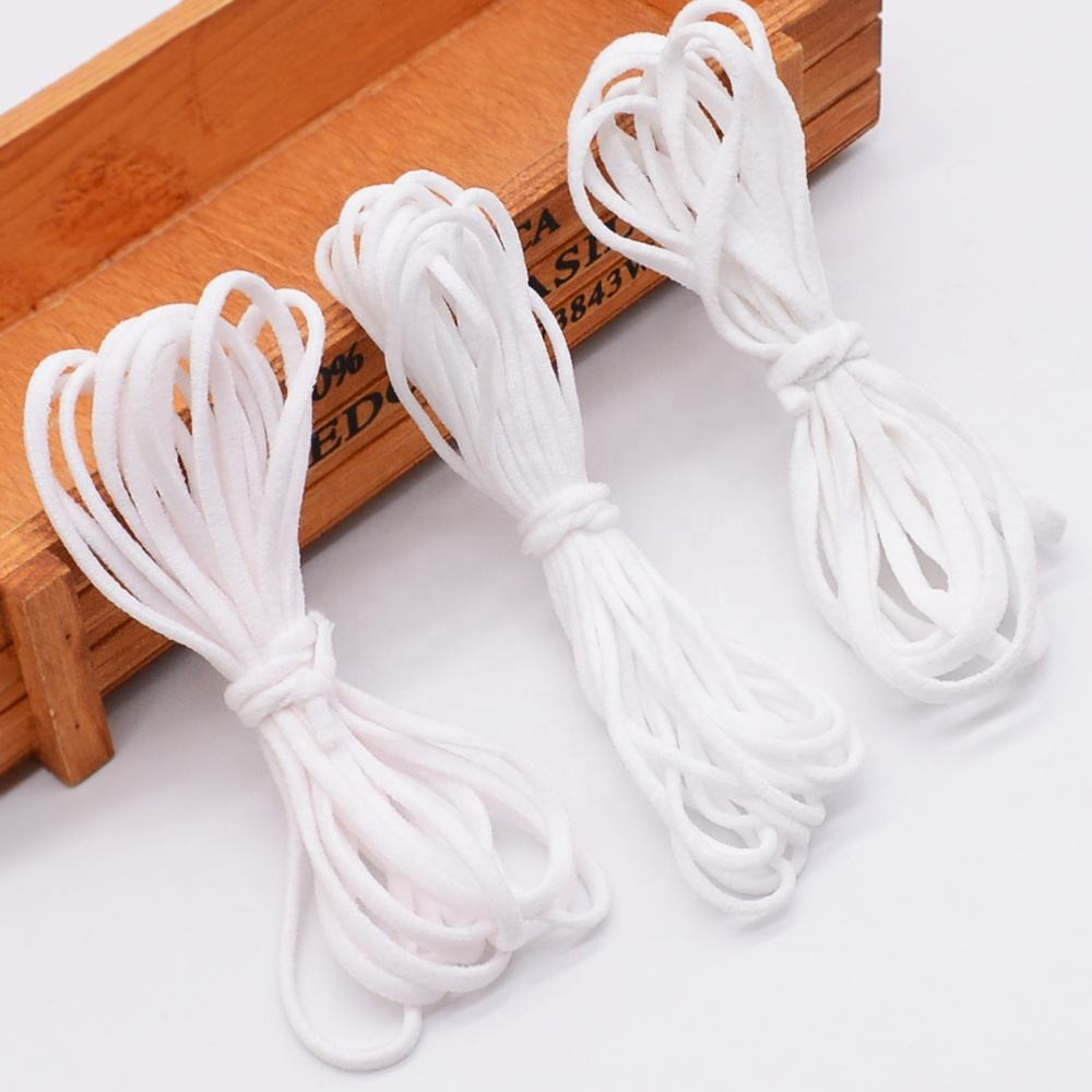 Wholesale nylon round elastic band 3mm for sewing cord braided for face clothes thin elastic band