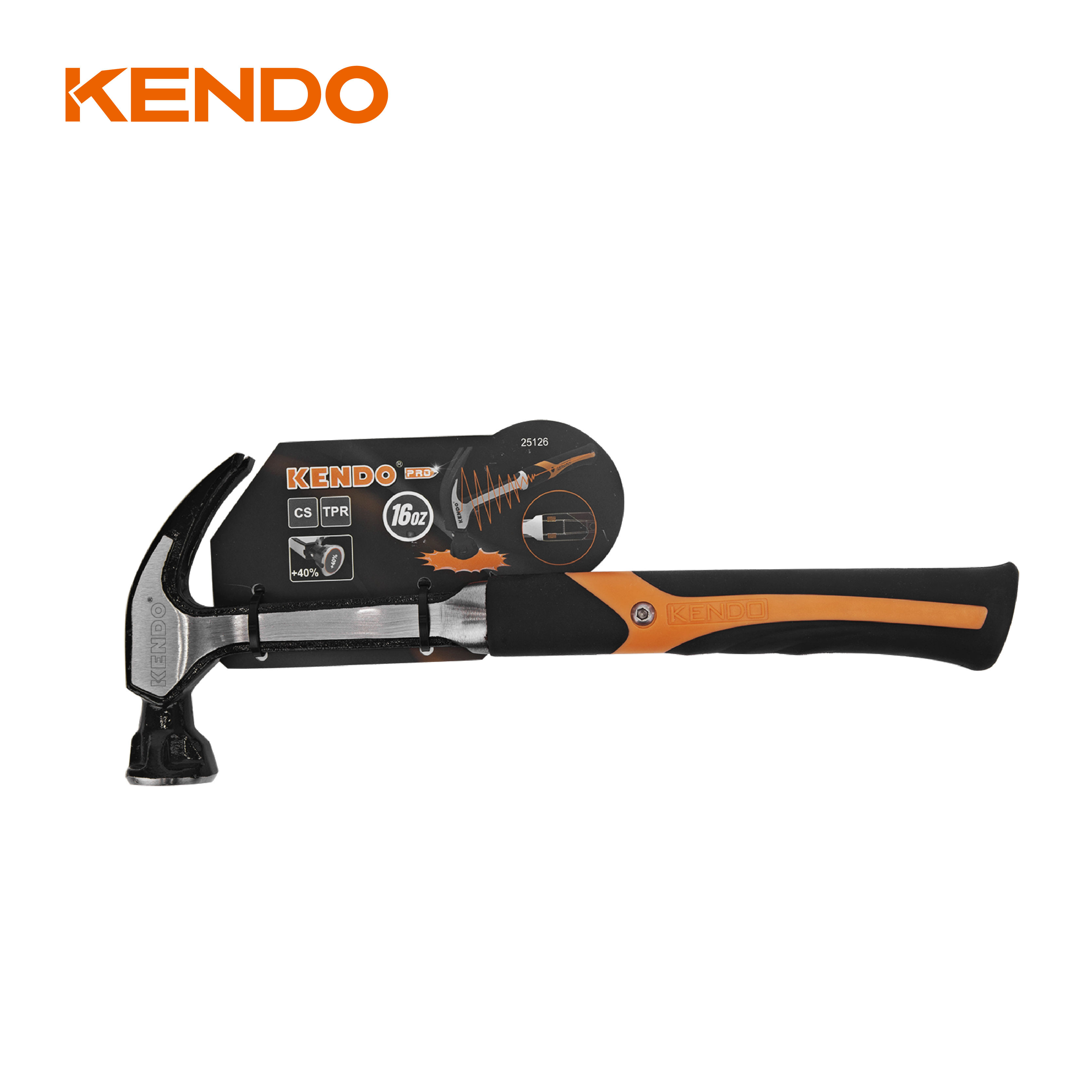 KENDO 16oz Anti-Vibration carbon steel magnetic nail claw hammer