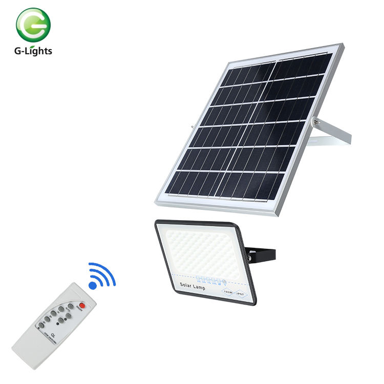Remote Control Lampu Taman Tahan Air IP67 Outdoor 50 100 200 300 Watt Square Solar LED Banjir Lampu