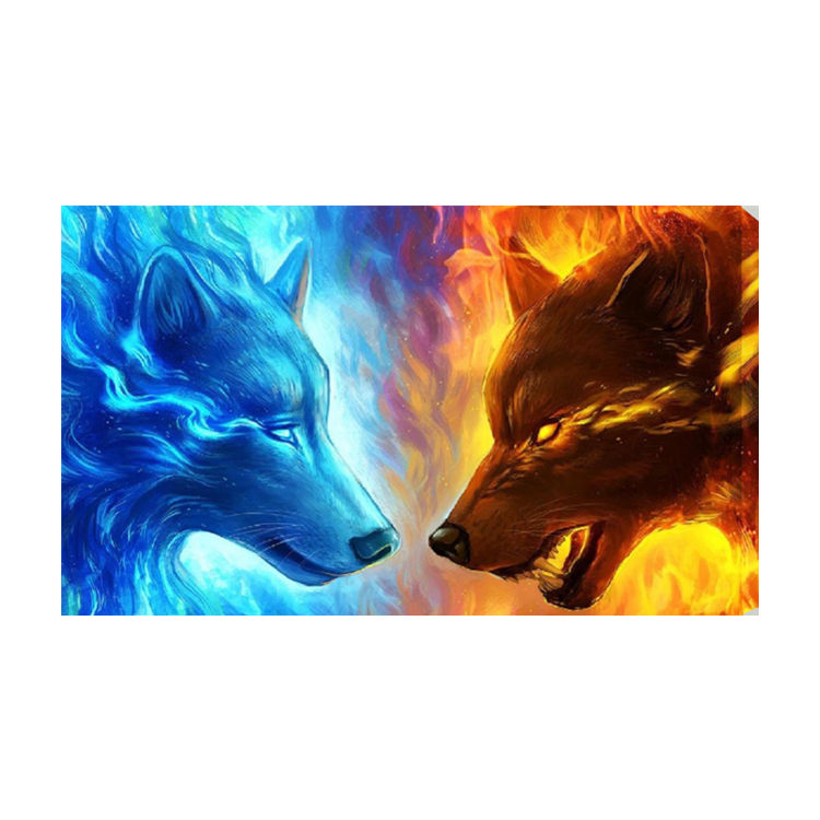 Factory direct selling South Korea hot selling frame painting Ice-fire Wolf Totem For Home and for Gift (Scenery)