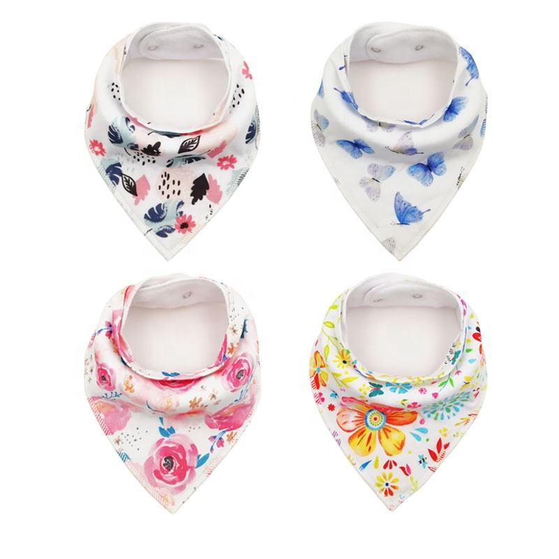 High Quality Custom Wholesale 100% Organic Cotton Waterproof Absorbent Plain Baby Bandana drool Bibs for Drooling and Teething