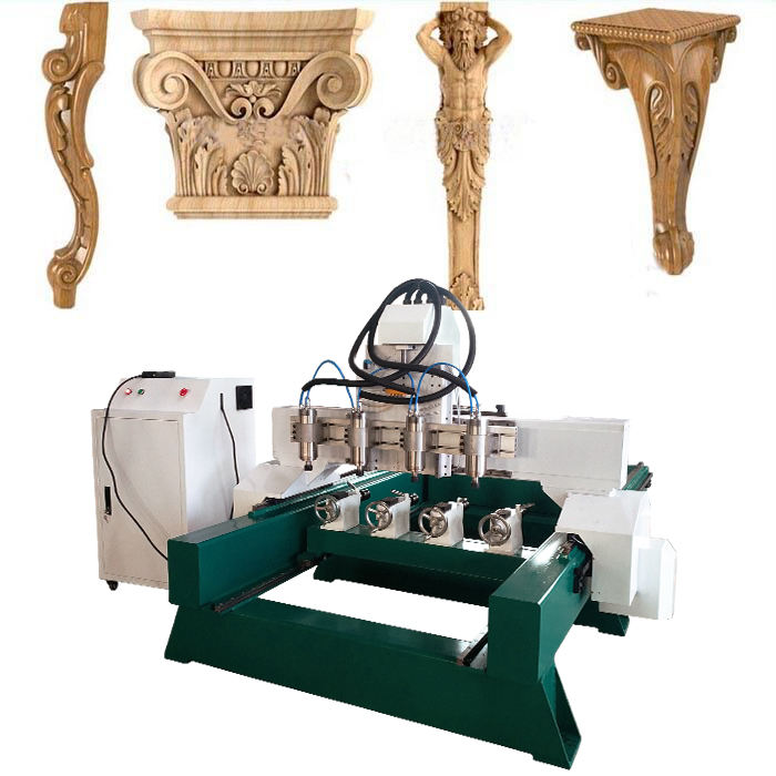 4 axis cnc wood lathe machine 3d carve machine center for classic/ antique furniture legs, decorations, statues and artcrafts