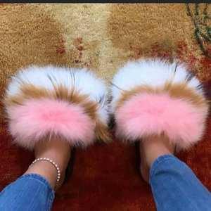 2021 new design Wholesale real fur slide fox fur slippers for women