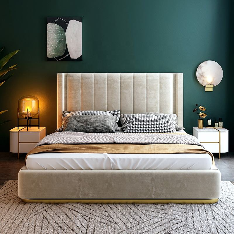 Wholesale Light Luxury Stylish House Bed MDF Modern Bedroom Furniture Sets