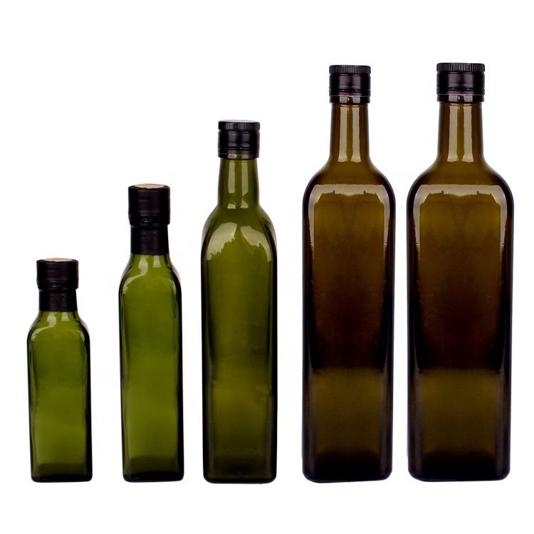 250ml 500ml 1000ml green square glass olive oil bottle with screw cap