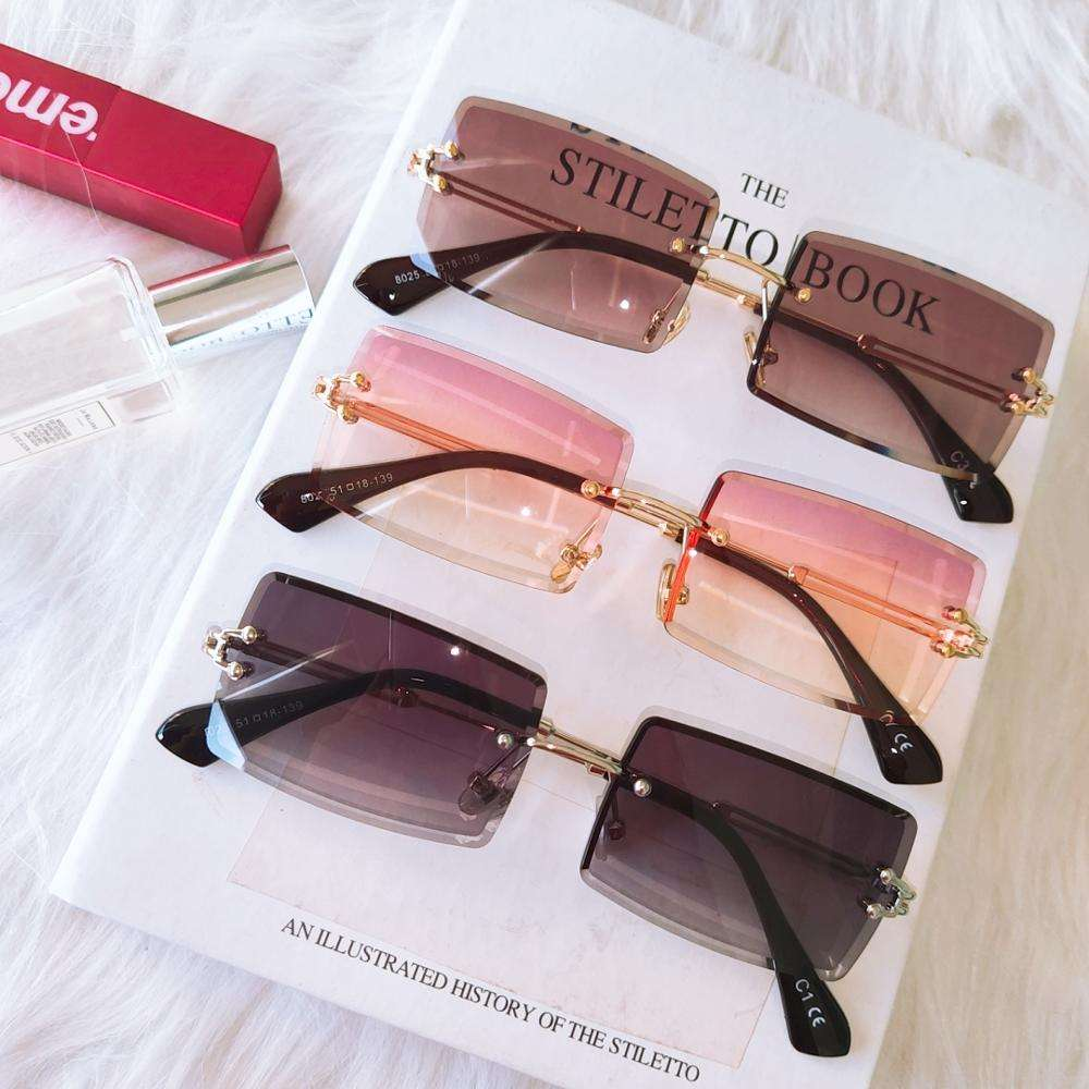 Custom 2020 Hot Sale Street Beat Sunglasses 2020 Women Fashion Rimless Square Sun Glasses