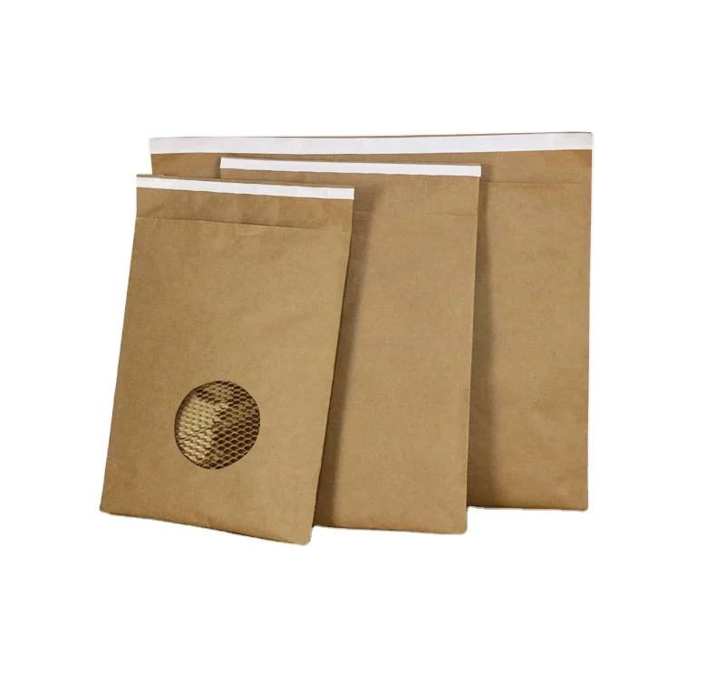 Amecopak environmentally friendly biodegradable custom buffer protection honeycomb kraft paper express envelope bag