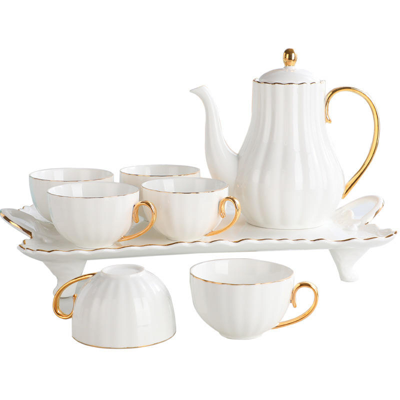 Whole Set Tea Cups and Saucers Cappuccino Cups Coffee Cups White Teacup Set
