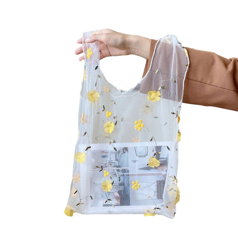Chic New Reusable Embroidery Slim Transparent Organza Mesh Handbag T- shirt Shopping Bag
