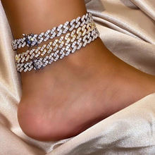 TOP ICY Mini Butterfly Cuban Link 8mm Pink Cuban chain Anklet Cz Punk Miami Link Bling Bling Hip Hop iced out Anklet jewelry