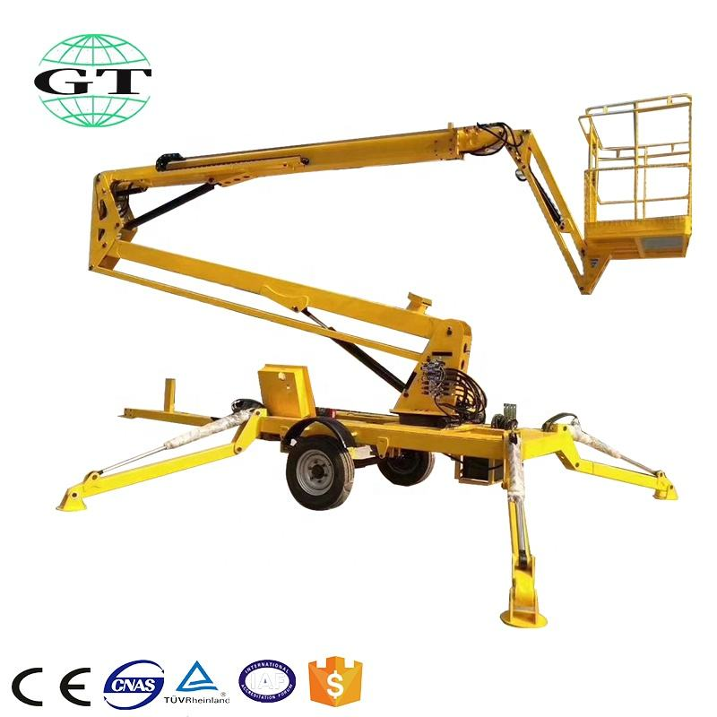 Cheap trailer mounted towable boom lift sky cherry picker one man lift platform table