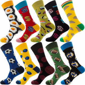Rts stock wholesale custom personality cotton colorful funny design men dress happy socks