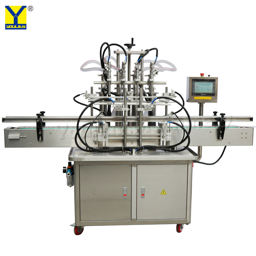 YT4T-4G Automatic 4 Heads Piston Filler 100ml 500ml 1000ml Liquid Filling Machine