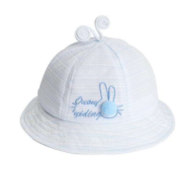 New Born Baby tentacles brim cap 100% Cotton Rabbit bucket sun hat for Young baby 45-5-47cm