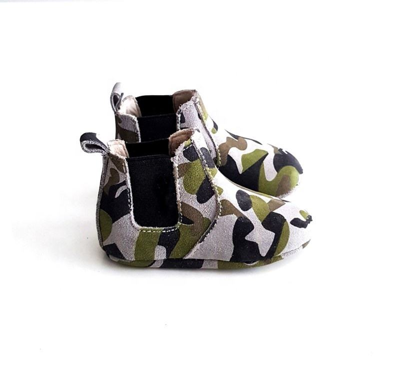 First Step Sole Sole Christmas Baby Shoes Leather Suede Camouflage Baby Booties