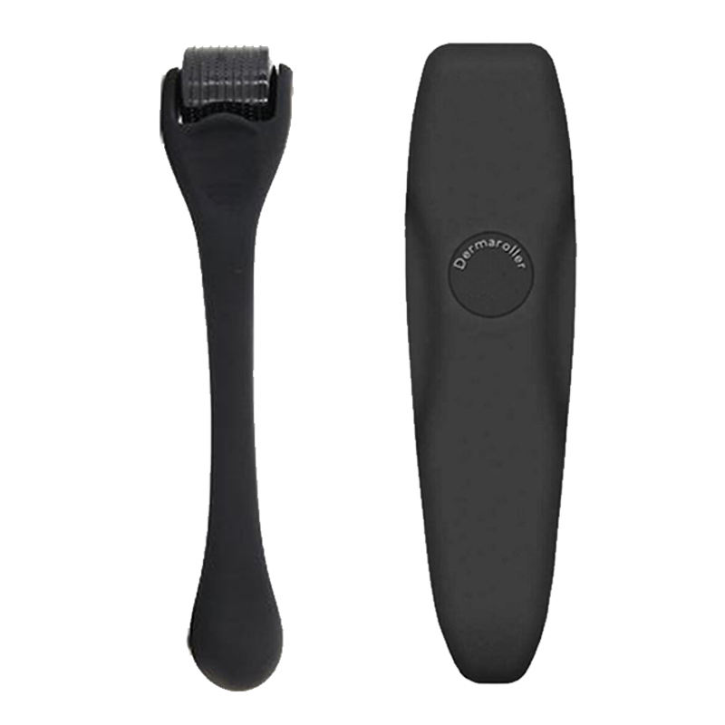 Matte Black Derma Roller Dermaroller 05 for Beard Growth Titanium Dermaroller Beard Roller For Men