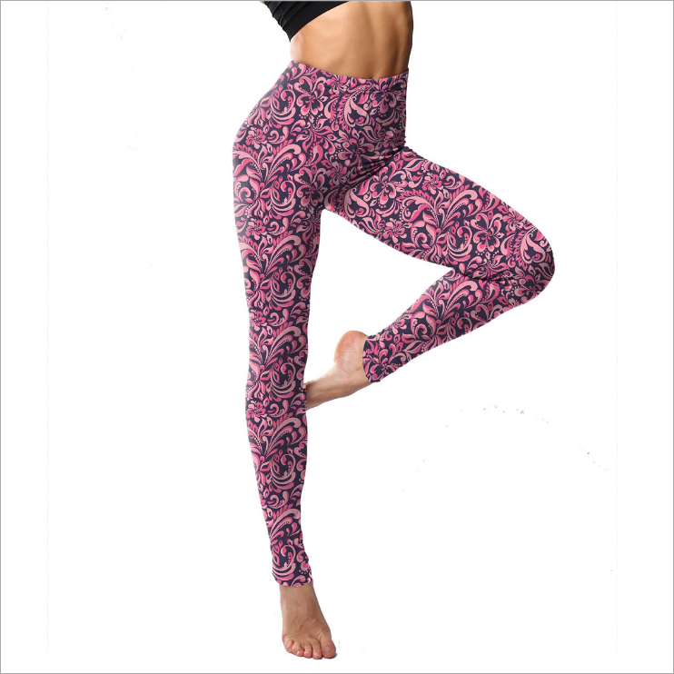 Make your own brand PINK HEART print leggings Milk Silk Soft Brushed Fashion