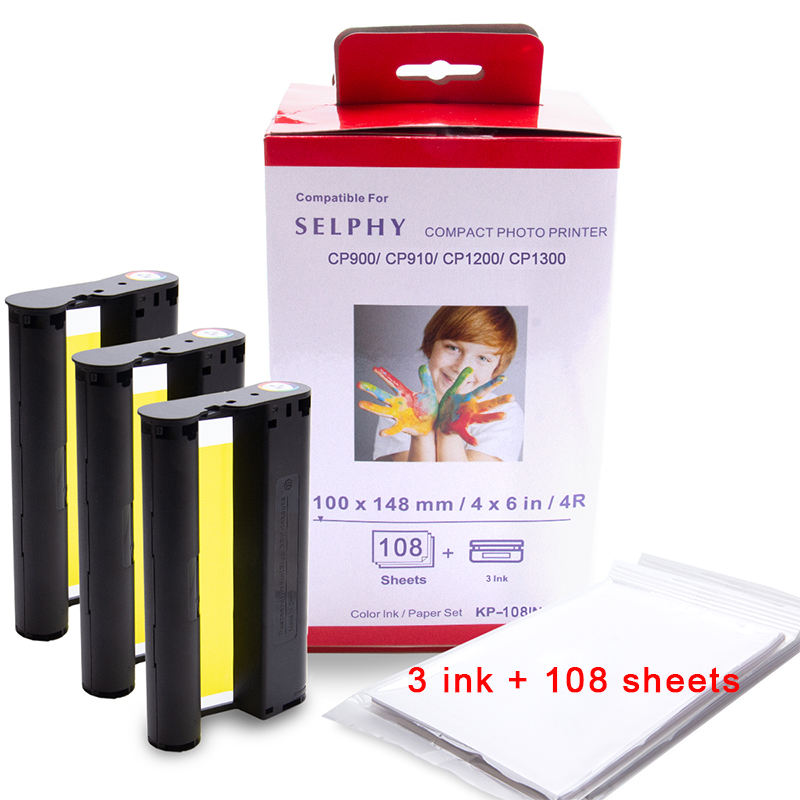 Wholesale New Compatible Color Ink 108 Sheets Photo Paper for Canon Selphy CP1200 KP-108IN 36IN