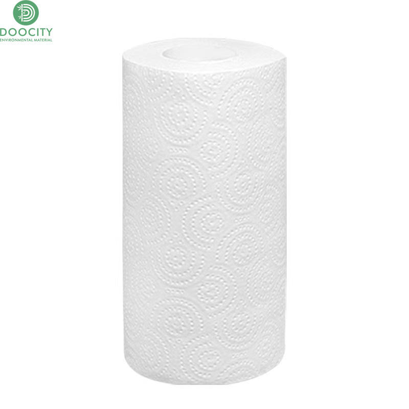 Doocity pure 100% bamboo pulp cleaning disposable hand towel tissue kitchen paper roll