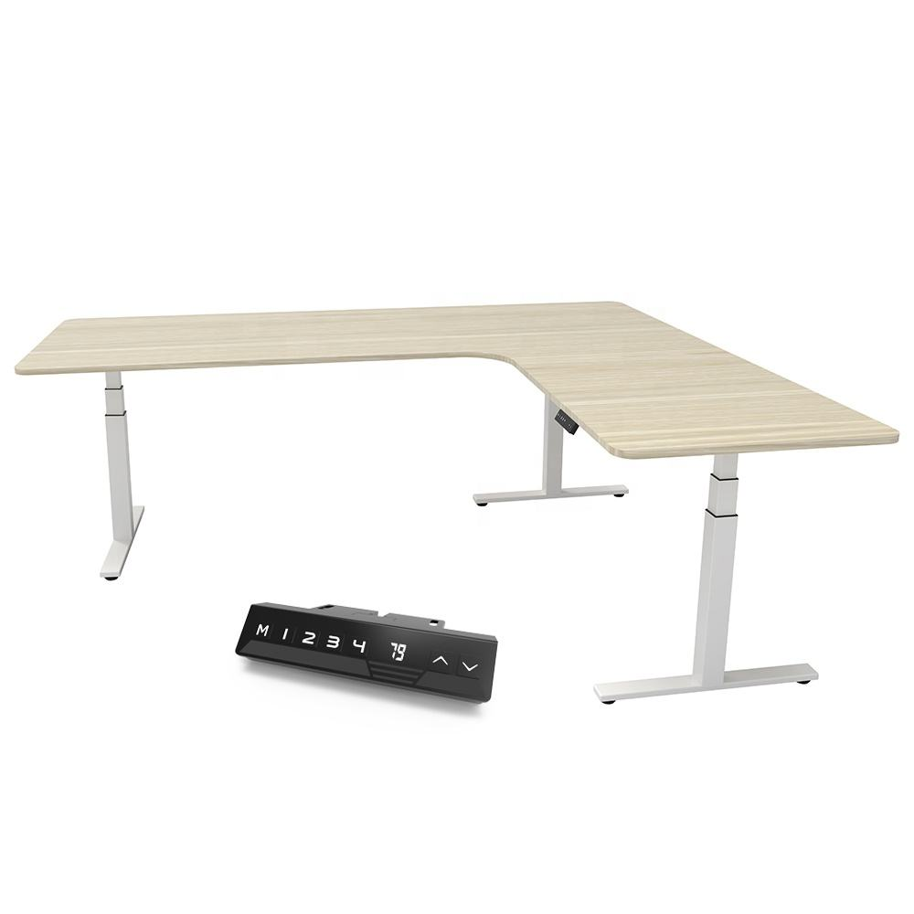 Vansdesk Height Adjustable Ergonomic 3 Legs Computer Desks Sit Stand Frame Office l Shape Standing Desk