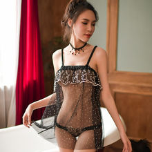 Hot Sexy Lace Dot Transparent Slip Nightdress Ladies Enticement Lingerie Sexy See Though Lingerie