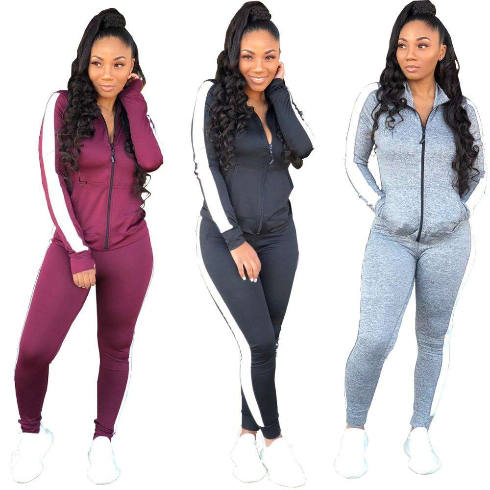 Ready to ship Sport blank women slim fit jogging suits