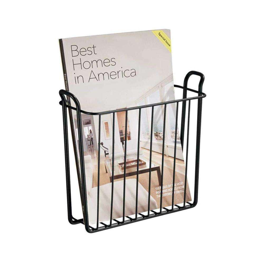 Metal Wire Wall Mount Magazine Holder And Organizer Home Office For Mail, Book, News paper
