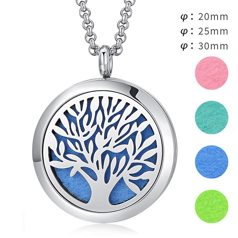 Fashion Diamond-free Life Tree Hollow Design Perfume Diffuser Aromatherapy Essential Oil Pendant necklace