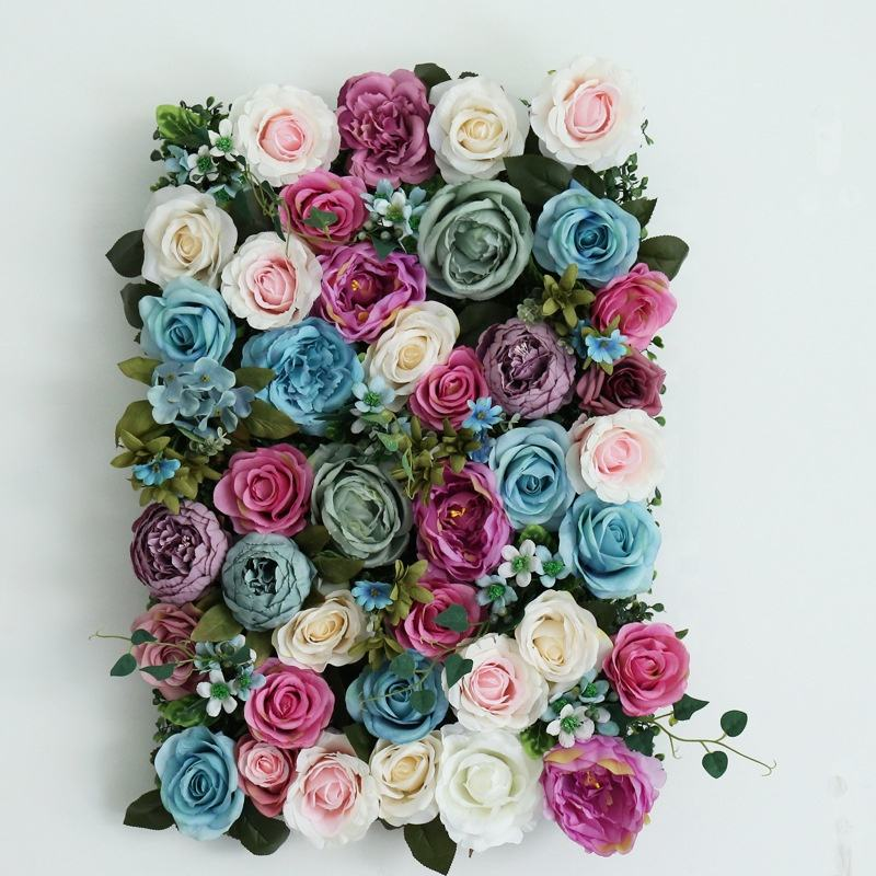 W06200 Big Yellow Pink Blue Blush Large Backdrop Panel Wedding Stage Decor Silk Peony Hydrangea Artificial Flower Wall Mat